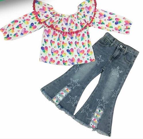 Rainbow Hearts Jean Set