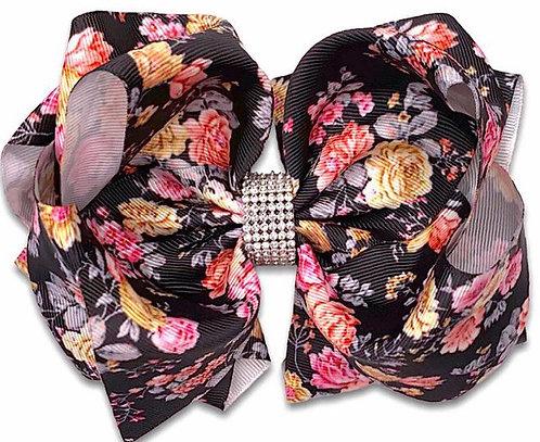Black Floral Vintage Bow
