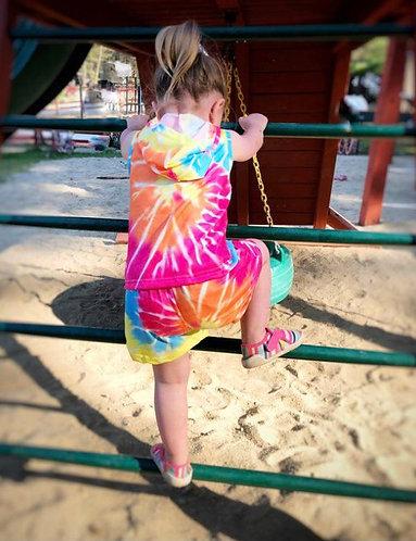 Sunburst Tie Dye Shorts Set