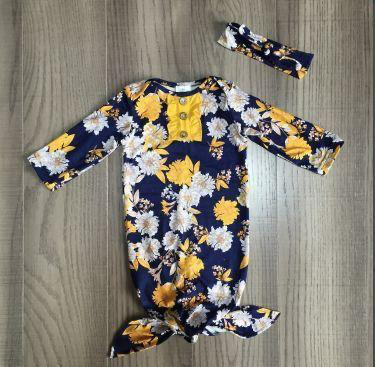 Floral Mustard Baby Gown Layette