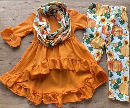 Sunflower-Pumpkin Scarf Set