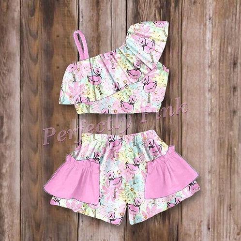 Sparkle Pink Flamingo Skirt Set  (Last one!) Size 7/8