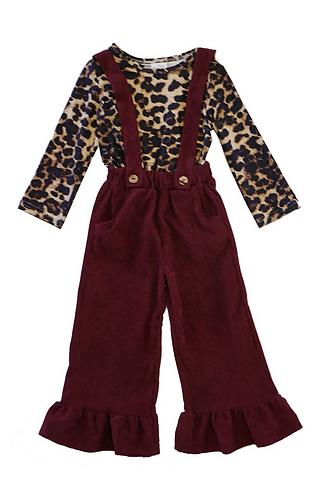 Leopard Burghandy Jumpsuit