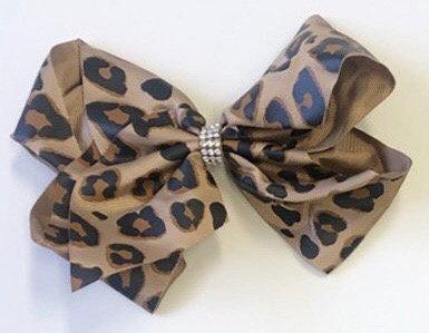 Leopard Bow (Rhinestone or Plain)