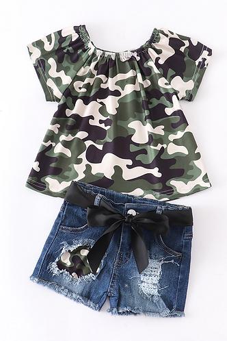 Army Girl Shorts Set
