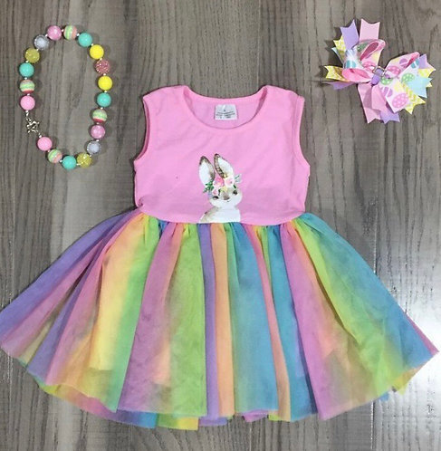Rainbow Sweet Bunny Dress