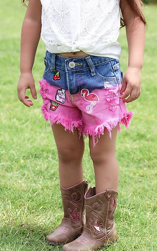Flamingo Fun Denim Shorts