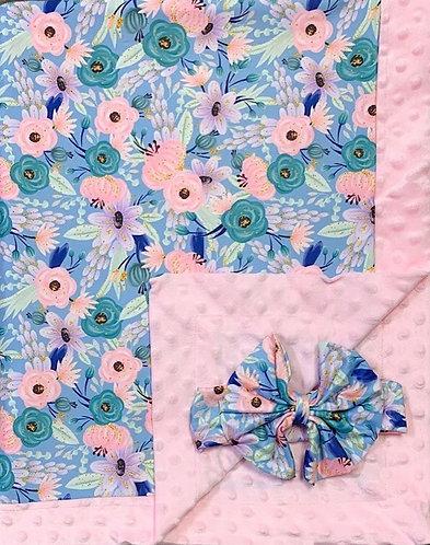 May Flowers Minky Blanket/Bow Headband Set
