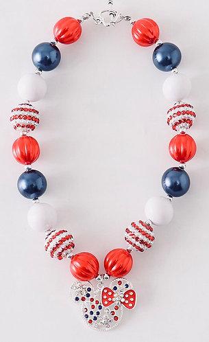 Minnie Mouse Patriotic Necklace