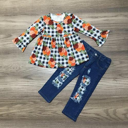 Fall Flowers Jeans Set