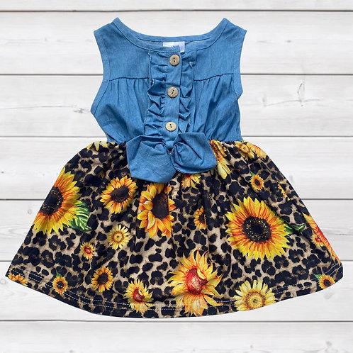 Wild Sunflowers Denim Dress