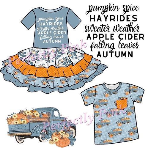 Pumpkin Spice & Hayrides Girls Dress Preorder Ends 5/14