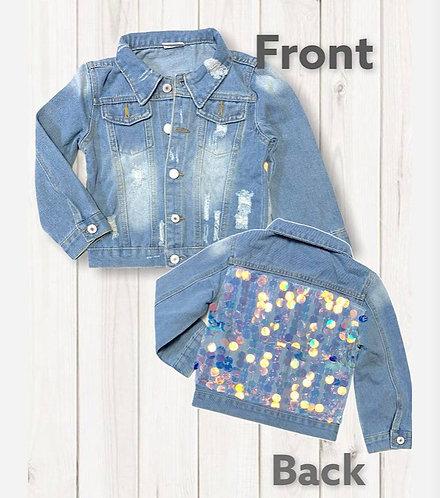 Denim Sparkle Sequin Jacket