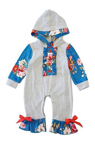 Gray & Blue Baby Hoodie Romper