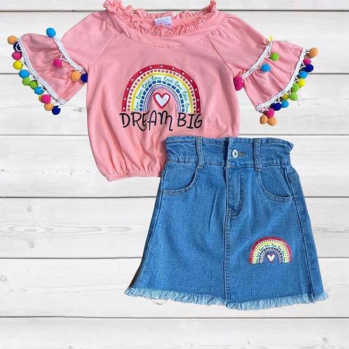 Rainbow Dream Big Denim Skirt Set