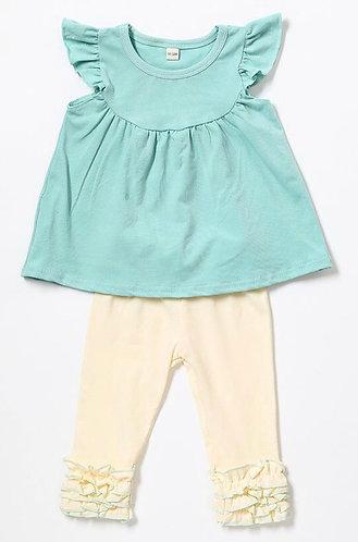 Pearl Top Ruffle Leggings Outfit