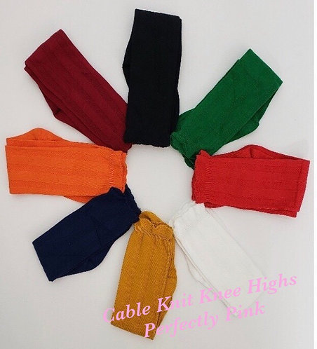 Cable Knit Knee High Socks(Bow or Plain)