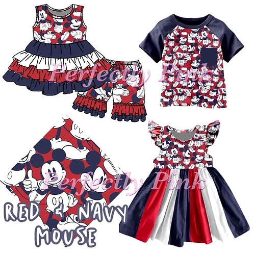 Red/ White & Navy Mickey Mouse Boys Shirt Preorder Ends 4/23