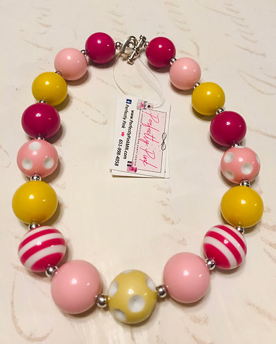Chunky Necklace Pink/Yellow