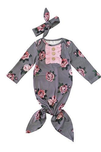 Floral Boquet Stripe Baby Gown Layette