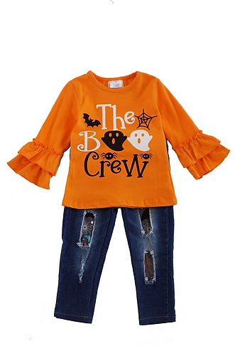 Boo Crew Distressed Jeans Set