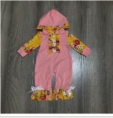 Pink & Yellow Baby Hoodie Romper