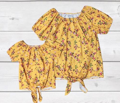 Buttercup Floral Button/Tie Top