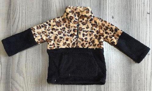 Leopard/Black Sherpa Sweatshirt