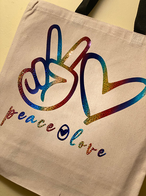 Peace & Love Holographic Tote