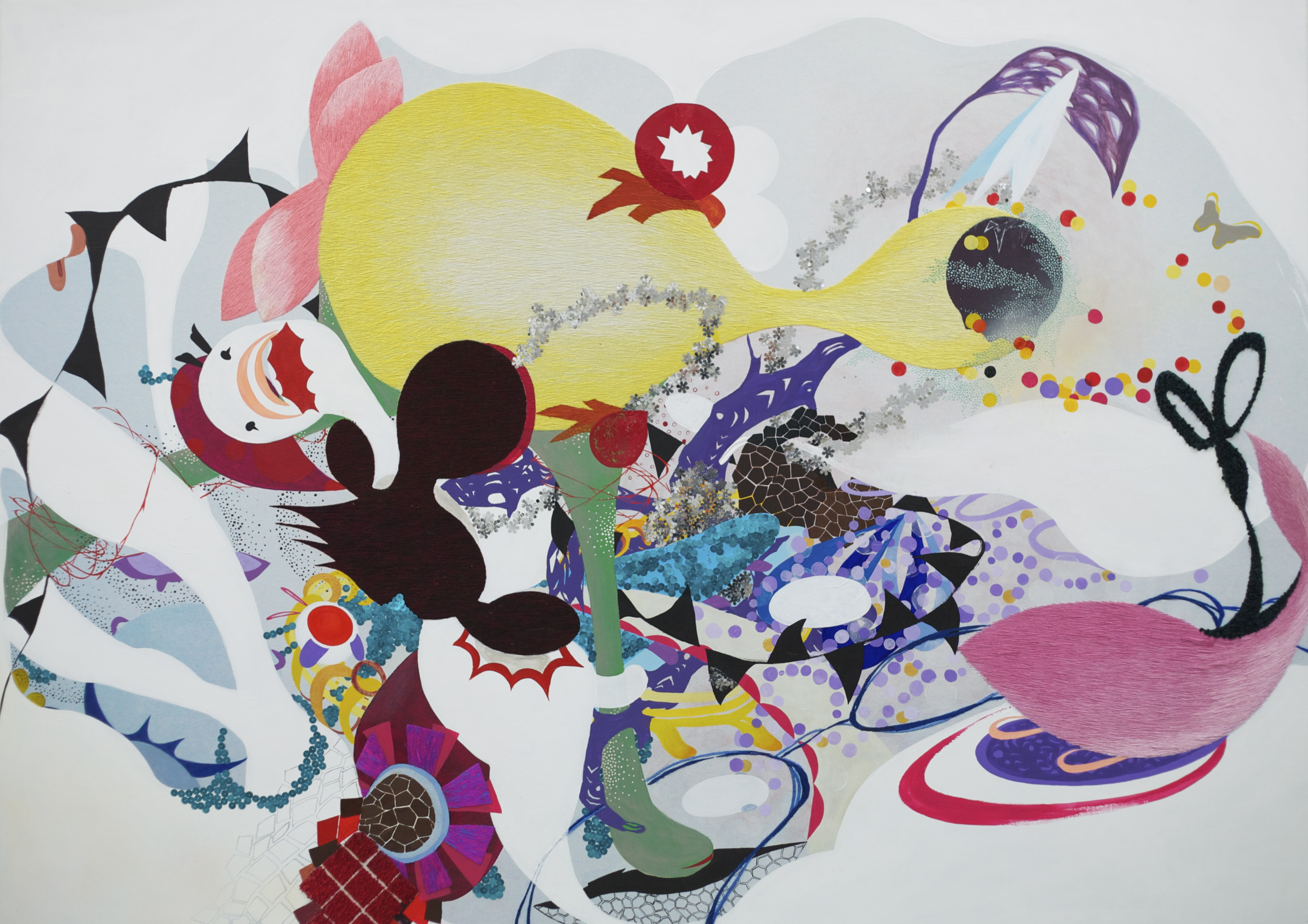 I Run to You, 2010-2012, Acrylic and embellishment on canvas, 102x142cm