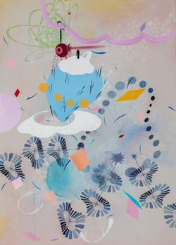 Rainbow Fall B, Acrylic on canvas142x102