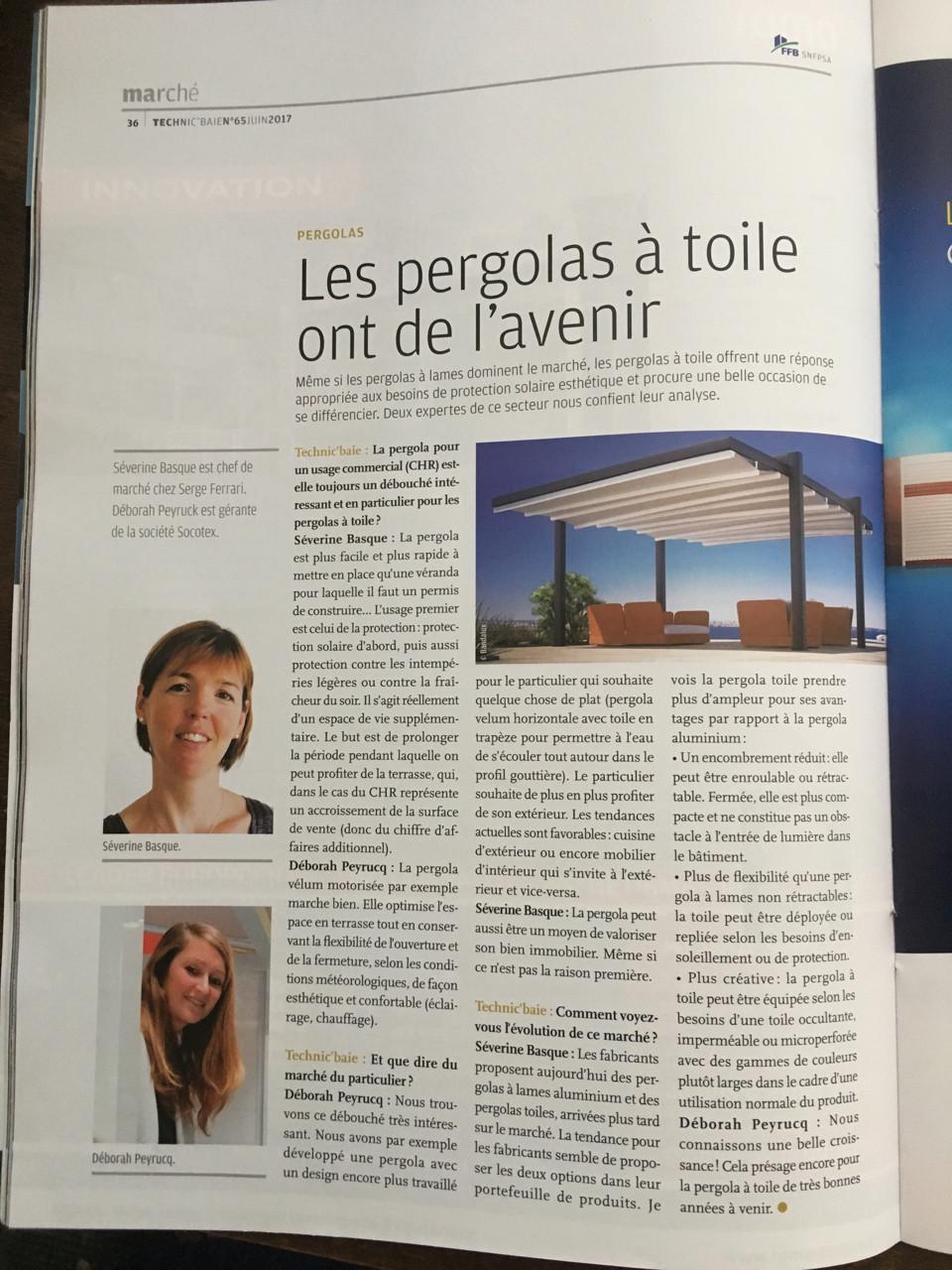 article technic'baie, les pergolas à toile ont de l'avenir, interview Déborah Peyrucq, gérante de Socotex