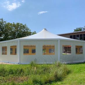 Structure métallo-textile ronde diamètre 16 m - surface 200 m2