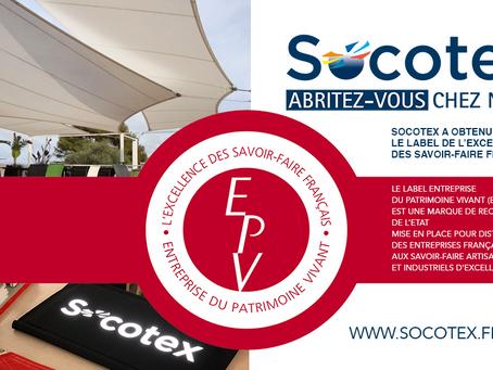 Socotex a obtenu le Label Entreprise du Patrimoine Vivant - L'excellence des savoir-faire français