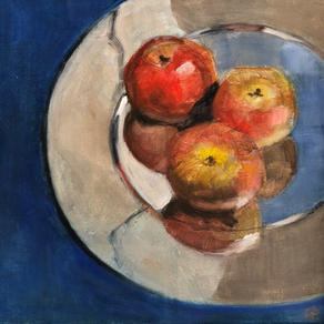 Red Apples, Silver Plate