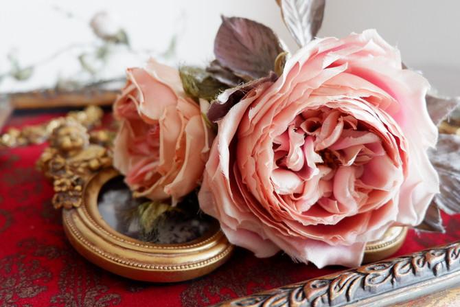 布花オールドローズ2種類布花教室。