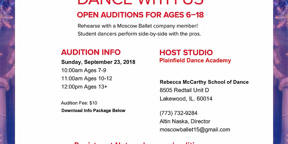 AUDITIONS - Moscow Ballet (Nutcracker) Lakewood, IL