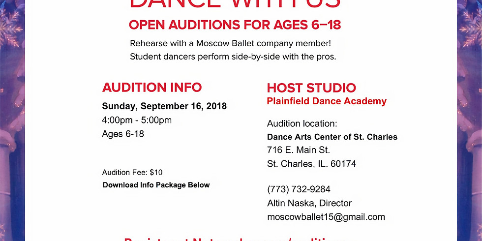 AUDITIONS - Moscow Ballet (Nutcracker) St Charles, IL