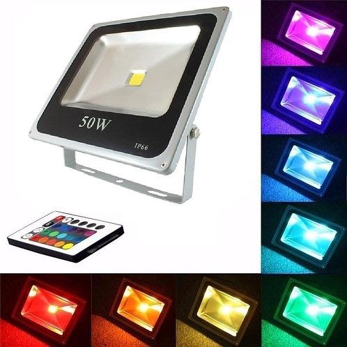 Reflector de Led 50w RGB Con Control Remoto