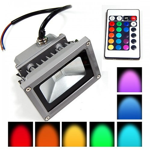 Reflector de Led 10w RGB Con Control Remoto