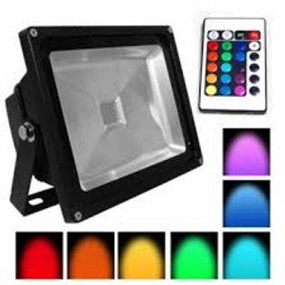 Reflector de Led 30w RGB Con Control Remoto