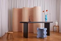 Curvy Room Divider Wood, Chunky Desk Black & Curvy Table Mini Light Blue
