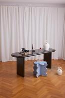 Chunky Desk Black & Curvy Table Mini Light Blue