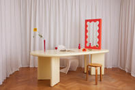 Chunky Table Pale Yellow & Curvy Mirror Mini Red