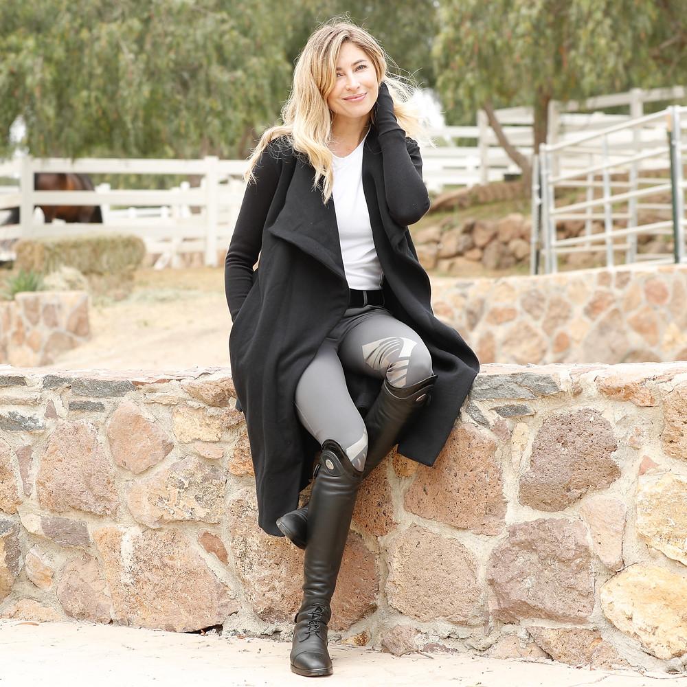Two Bits Equestrian Black Wrap Coat