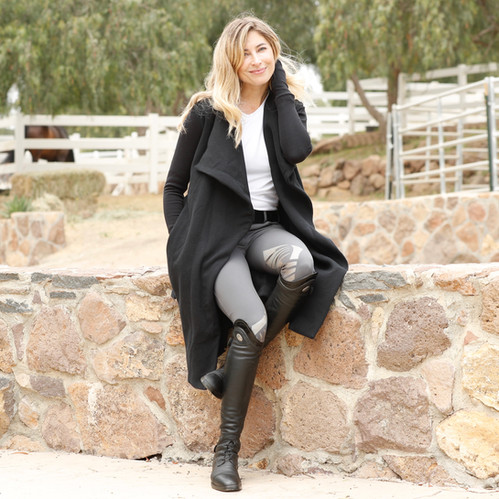 Two Bits Equestrian Black Wrap Coat