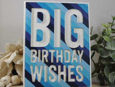 Negative Blue Strip Big Birthday Wishes
