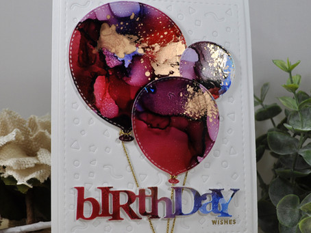 Alcohol Ink Birthday Wishes Balloons