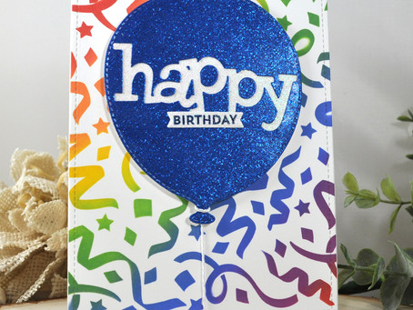 Streamer Background Happy Birthday Balloon