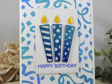 Streamer Background Happy Birthday Candles
